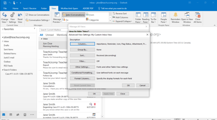 default view outlook mail